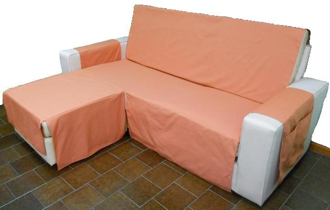 Funda sofá chaise longue color teja