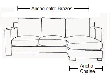 Anchos para funda sofá chaise longue