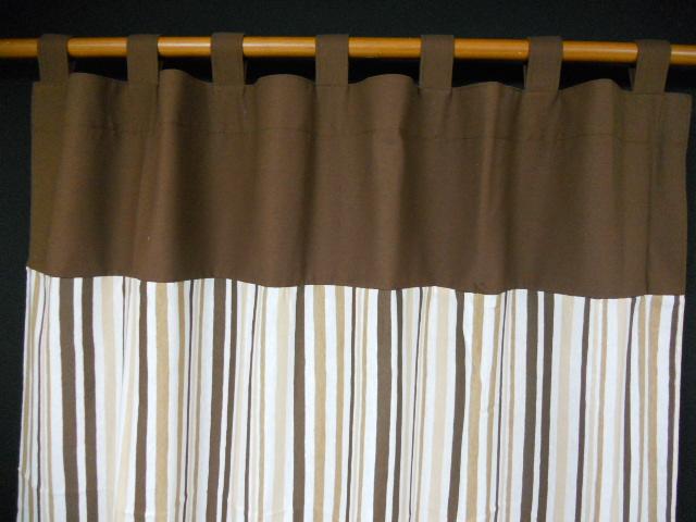 Combinacion raya marron liso marron combinacion raya negra for Cortinas trabillas confeccionadas
