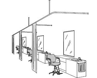 Riel aéreo en oficinas